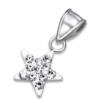 """Stříbrný přívěsek s krystaly """"HVĚZDA"""". Ag 925/1000"""